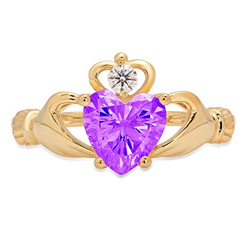 1.52ct Heart Cut Irish Celtic Claddagh Solitaire Natural Purple Amethyst Gem Stone VVS1 Designer Modern Statement Ring 14k Yellow Gold, Size 7 Clara Pucci