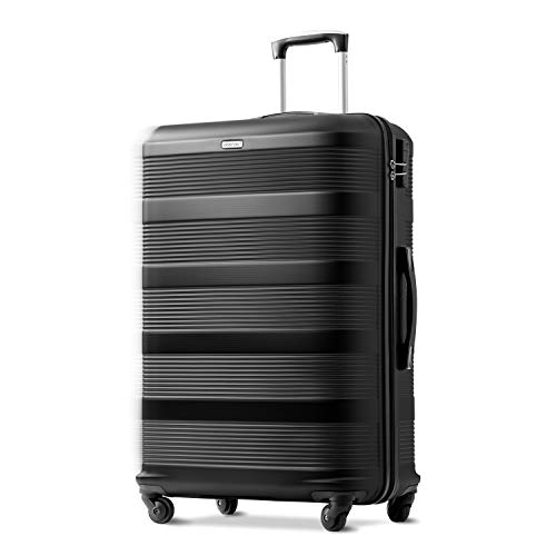 Nyyyi Hard Shell Suitcases, Super Lightweight Suitcases, Travel Luggage Suitcase, 4 Wheel Spinner Lightweight Suitcase, 28 Inches Black Suitcase