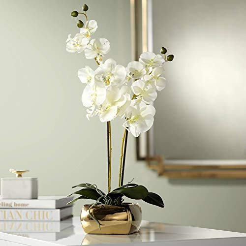 Dahlia Studios White Orchid 22' High Faux Flowers in Gold Ceramic Pot