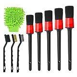 TLM Toys Juego de 9 pinceles de limpieza para coche, para interior y exterior, para limpiar coches, camiones, bicicletas, ruedas