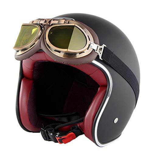 stile vintage Moto Helmets D22/-/Casco cruiser in pelle con borsa per il trasporto in tessuto