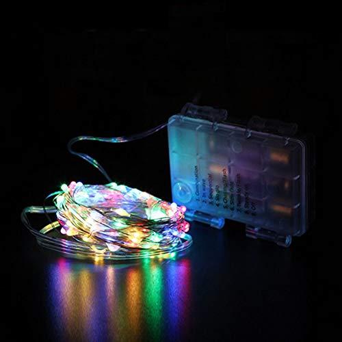 QPOWY Cadenas de LED Luces de Hadas de Control Remoto Decoración de luz de batería AA Cadena de 8 Modos Alambre de Plata Iluminación Impermeable de Navidad 5 / 10M