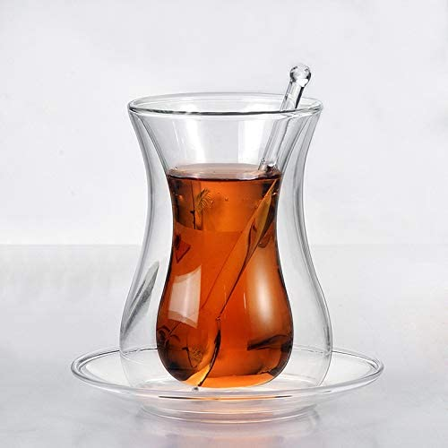 GracesDawn Same day shipping with saucer and glass insulated cup Fees free!! spoon coffee set