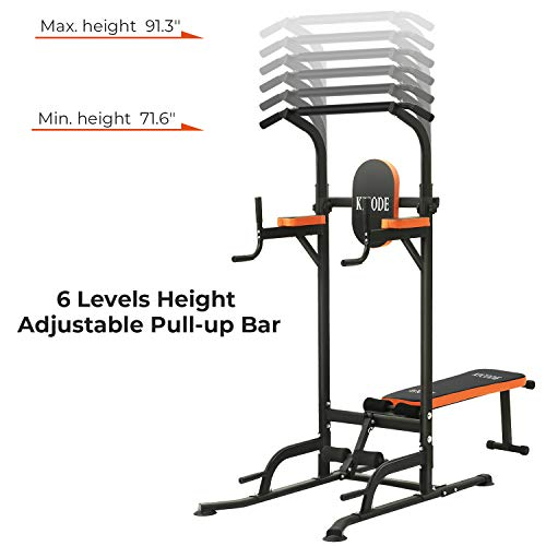 Kicode Power Tower with Bench Pull Up Bar Dip Station, Home Gym Exercise Tower Stand, Strength Training Multi-Function Fitness Equipment