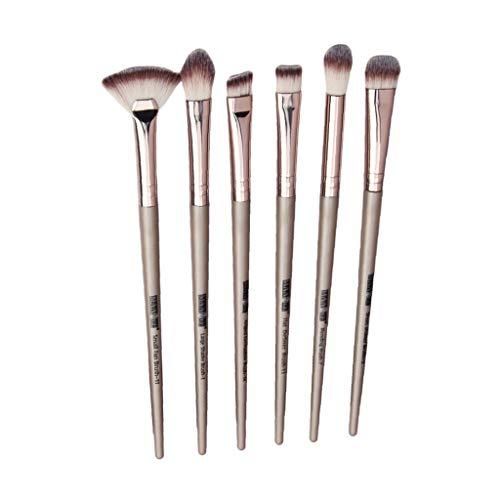 HomeDecTime Lot de 6 Pinceaux de Maquillage Professionnels, Outils Cosmétiques - Champagne