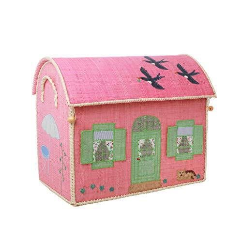 Rice Aufbewahrungstruhe Spielzeugaufbewahrung Haus rosa Mittel