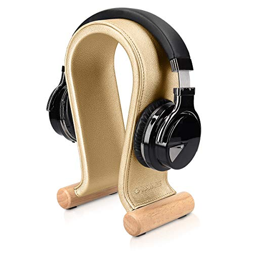 Navaris Omega Headphone Stand - Synthetic Leather Headset Hanger with Wood Base - Holder for Wired, Wireless, Gaming, DJ, Studio Headphones - Gold
