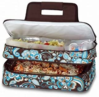 CC Home Furnishings Sleek Expandable Hot & Cold Food Carrier w/Storage Containers - Cocoa Cosmos