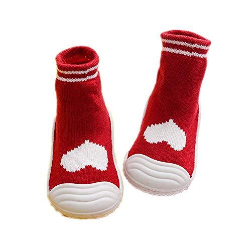 2 pares de zapatillas de interior con suela de goma y agarres elásticos, para niños pequeños, calcetines calientes para Halloween, Navidad, regalo de nacimiento, # 3, L