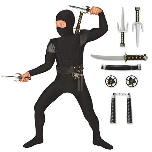 Kids Ninja Costume Childrens Black Kung Fu Outfit For Boys & Girls Medium