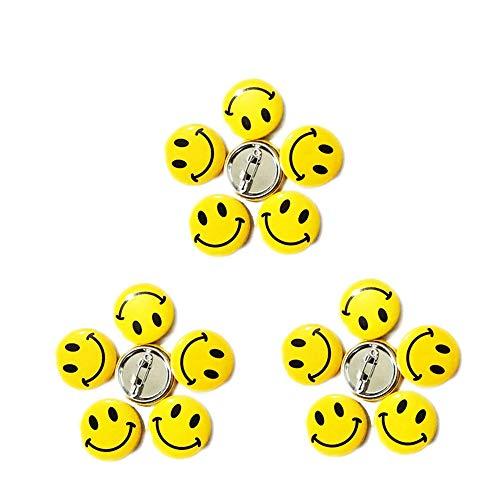 LGEGE 96pcs Mini Metal Smile Face Button Pins