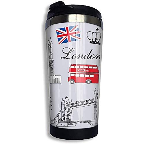 Taza de viaje de café Big Ben Tower London Bridge Taza de vaso de té Té helado o botella de agua Taza térmica aislada Acero inoxidable