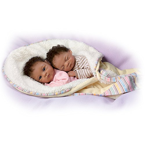Jada And Jayden Twins in Custom Bunting So Truly Real Lifelike & Realistic Newborn African-American Baby Dolls 13-inches by The Ashton-Drake Galleries