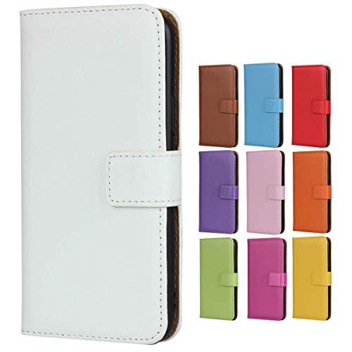 Jaorty Schutzhülle für Huawei P20, echtes Leder, Brieftaschenformat, Flip-Cover mit Ständer-Funktion, Magnetverschluss & Kartenfächern/Geldfach, Weiß