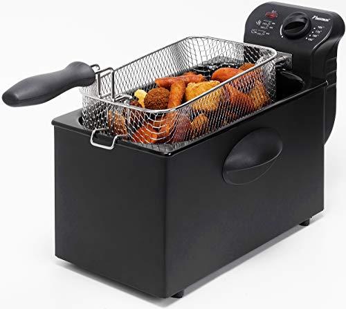 Bestron Friteuse Zone froide, Pour 1 kg de frites, 3,5 litres, 2000 W, Noir