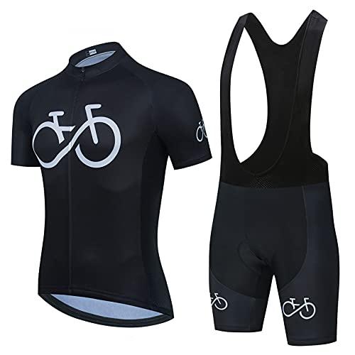 DNJKH Ropa de Bicicleta de Montaña Transpirable y De Secado Rápido Manga Corta Verano Culotte Ciclismo Pantalones Bicicleta