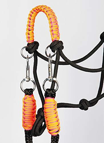 Harry\'s Horse Rij/touwhalster met teugels, Farbe:schwarz-rosa, Größe:Full