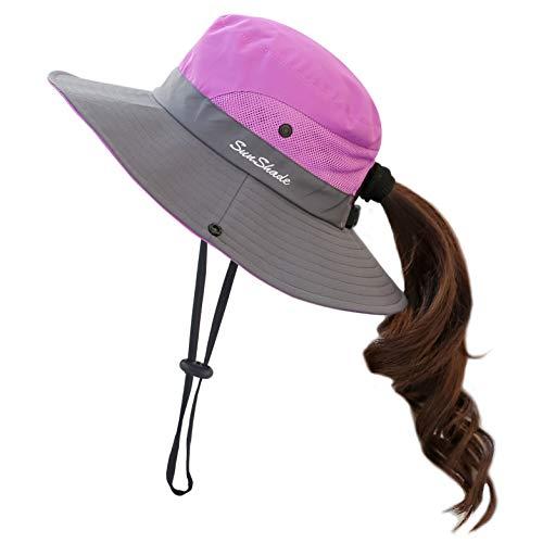 Muryobao Women Ponytail Summer Sun Hat Wide Brim UV Hats Floppy Bucket Cap for Safari Beach Fishing Gardening Purple