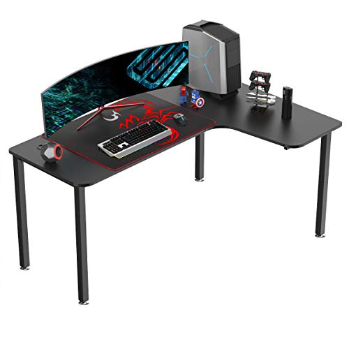EUREKA ERGONOMIC L Shaped Gaming Computer Desk 60 inch with Free Mousepad, Multi-Functional Study Writing Corner Desk for Pc Gaming Home Office Laptop Computer Table, Right Side, Black