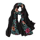 URIBAKY - Bufanda para mujer, bordado de pashmina, algodón, chales florales, bandana, bufanda, pañuelo cuadrado y pañuelos, diseño de impresión de satén de seda, bandanas, 0Le negro, Talla única