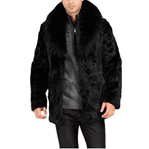 Men Faux Fur Coat Mens Winter Warm Thicker Long Jacket Overcoat Parka Outwear (L, Black)