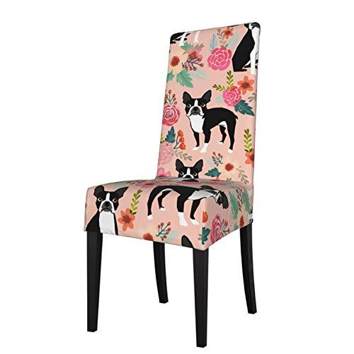 Feamo Funda elástica para silla de comedor, Boston Spring Pink Boston Terrier, fundas para silla de comedor, fundas de asiento de silla, protectores de silla para hotel, ceremonias, fiestas y mascotas