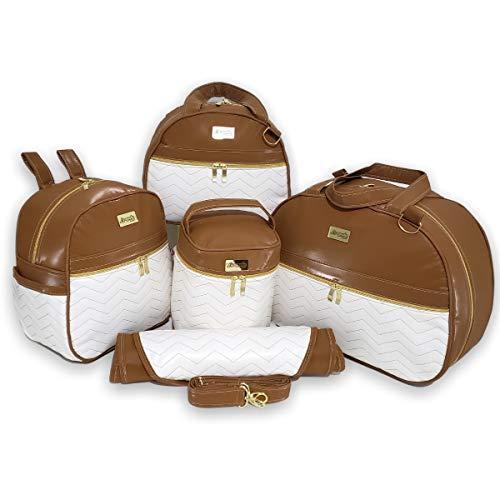 Bolsas de Maternidade com Mochila Bordado Zigzag Branco material Térmico Impermeável Cor: Marrom