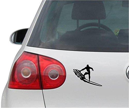 INDIGOS UG Aufkleber - Autoaufkleber - JDM - Die Cut - Surfer Surfing Surf Sticker Auto Fenster Laptop Sticker - schwarz - 119mmx88mm