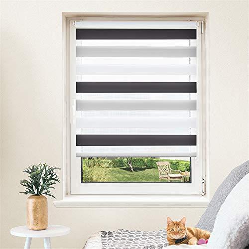 Doppelrollo, Duo Rollo ohne Bohren, Klemmfix Rollo, lichtdurchlässig und verdunkelnd Wandmontage Sichtschutz Rollo für Fenster und Tür Weiß-Grau-Anthrazit, 75 x 130 cm
