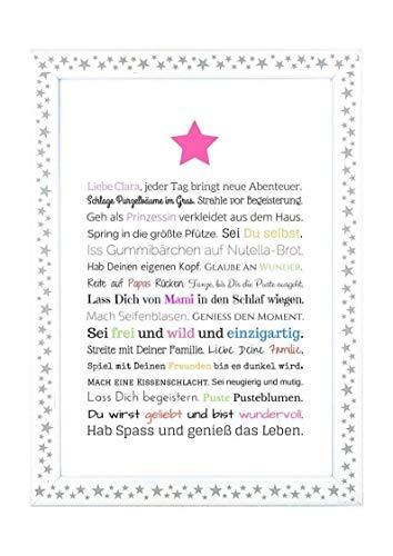 Geschenk für Baby oder Neugeborene - Bild für Mädchen in DIN A4: Personalisierte Geschenkidee als Gastgeschenk für Geburtstag - Gastgeschenk Geburt, Kunstdruck