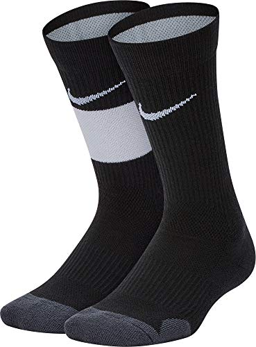 Nike Youth Elite Basketball Crew Socks 2 Pack (Black/White, Medium)
