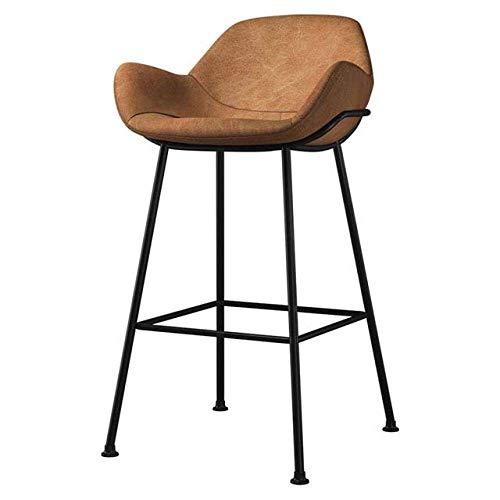JBNJV Vintage Retro Barhocker Designer Rustikale Küche Barhocker Rückenlehne Island Counter Pub Stühle mit Fußstütze Home Dining Chair Home Decoration-Brown_65cm