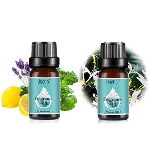 UNCLIN Duft Öl für Aroma diffuser, Aromatherapie Naturreines Duftöl, Essential Oil 10ML -Geißblatt Parfümöl, Minze, Zitrone und Lavendel Fragrance Oil 10ml