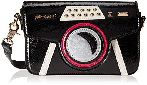 Every day is a photo shoot when you carry the Get My Good Side Kitsch Crossbody Bag from Betsey Johnson This cute crossbody bags features camera shaped based with applique detail, a shiny faux leather surface, stud accents, adjustable crossbody strap...