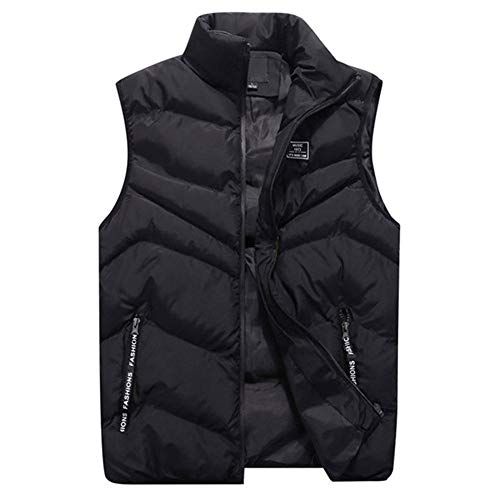 SDAFSA Chaleco acolchado para hombre, para otoño e invierno, moderno, cuello de color puro, sin mangas, con cremallera Negro XXL