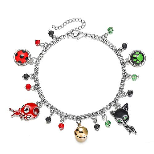 Ladybird Superhero and Cat Bracelet Charm with Crystal Bead Bangle for Kids Cosplay Adjustable Jewelry
