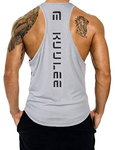 KUULEE Herren Gym Stringer Fitness Tank Top Herren Funktionelle Sport Bekleidung Bodybuilding T-Shirt Trainingsshirt ärmellos Weste Muskelshirt (Verpackung MEHRWEG), Grau, XL / 40