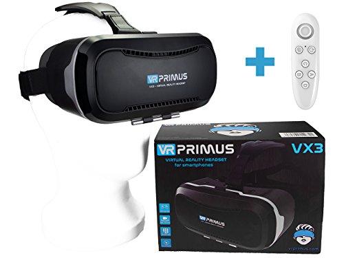 VR Primus® VX3 VR Brille, kompatibel mit Handys bis 5.8 Zoll z.B. iPhone 7 8 X XS, Android, Samsung S6 S7 S8 S9, Huawei p10 p20,LG G6. Mit Google Cardboard Apps.|+ Fernbedienung für Android Handy \'s