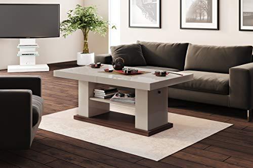 HU Design Couchtisch Tisch HN-777 Hochglanz höhenverstellbar ausziehbar Esstisch (Cappuccino Hochglanz)