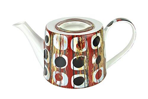 MamboCat Jameson & Tailor Teekanne Shabby CHIC Holz rot, 1,25 L, Kanne Brillantporzellan, Kunst-Dekor Holzoptik + Gratis Teeprobe