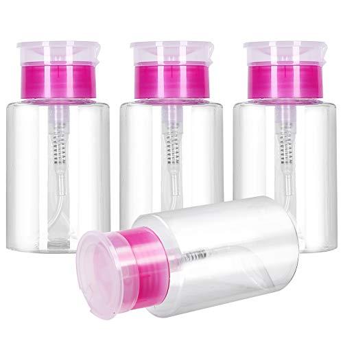 Ancoo 4 dispensadores de 180 ml para quitar esmalte de uñas, dispensador de empuje hacia abajo, dispensador de botellas vacías para removedor de esmalte de uñas, contenedor líquido