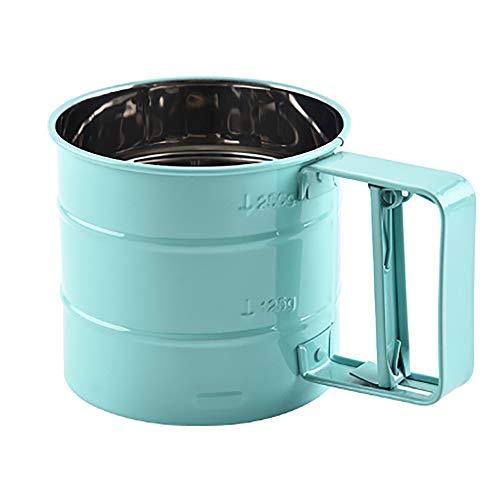 zunbo - Tamiz de harina portátil de acero inoxidable, herramienta de cocción para azúcar, harina y café en polvo (azul y plata)