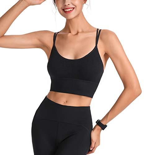 Ropa interior casual de fitness para mujer, color sólido, sexy, sin espalda, tirantes de espagueti, cuello en forma de U con chaleco sin costuras