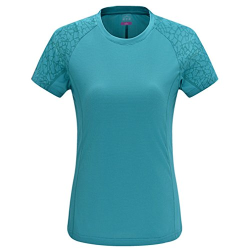 emansmoer Femme Col Rond Manches Courtes Quick Dry Wicking T-Shirt été Respirant Sport Course Gym Camping Tee Tops (XXX-Large, Bleu)