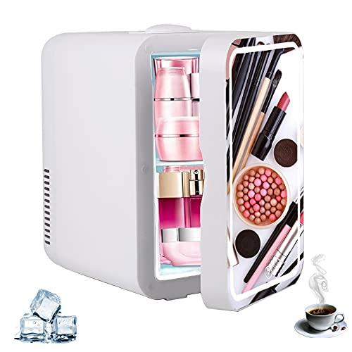 Mini frigorífico 2 en 1 con función de calefacción de 8 litros, portátil, para cosméticos y congelador, para el dormitorio, regulador de temperatura para el coche y el hogar