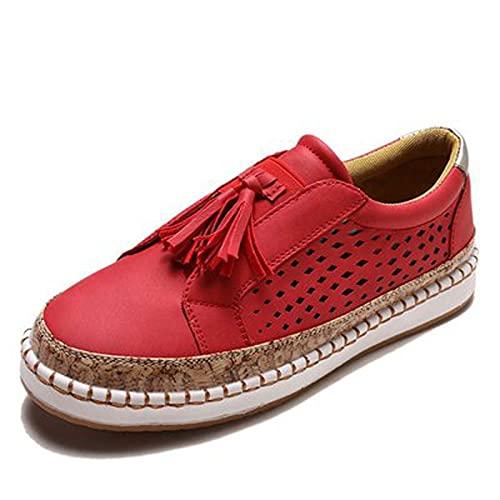 Zapatillas deportivas casuales cómodas de verano para mujer, de moda, casuales, sueltas y planas, rojo, 38