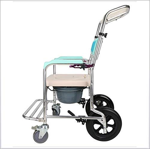 Lunzi Leichter faltender fahrender Rollstuhl, justierbarer Rückenlehnen-Winkel-Shampoo-Badezimmer-Toiletten-Stuhl-Wäsche-Aluminiumrollstuhl-Sitz