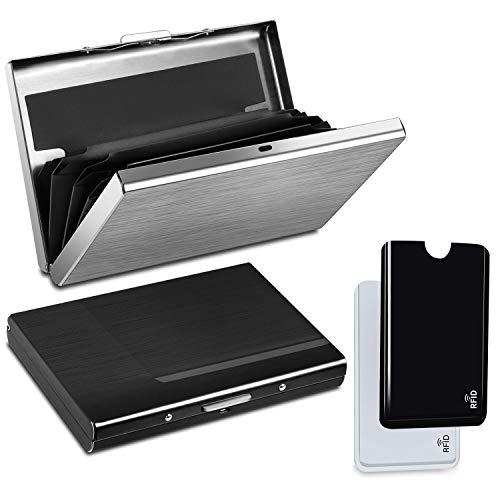 YOOZIRI Tarjetero para Tarjetas de Credito con RFID Bloqueo, 2pcs Fundas para Tarjetas de Crédito + 2pcs Porta Tarjetas de Aluminio para Tarjetas de Crédito y Billetes - Regalo