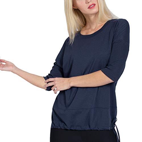 Magadi Yoga-Shirt Sara Navy für Damen aus Bio-Baumwolle, Damen Sport Oberteil für Yoga, Pilates, Gym, nachhaltig und fair