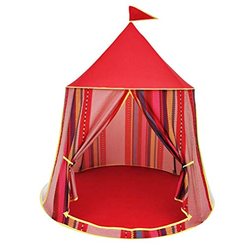 GenericBrands Kids Teepee Tent With Padded Mat Princess Indoor Playhouse Children Foldable Yurt Pop Up Play Tent For Outdoor Indoor (Red)